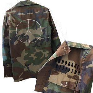 Authentic vintage camo military jacket peace sign